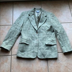 Pendleton Taupe Plaid Lambswool Blend Blazer 12
